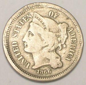 1866 Three 3 Cents Nickel Liberty Coin Bent