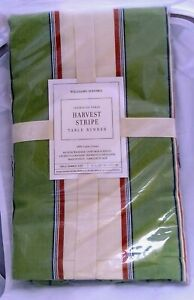 """Williams Sonoma Harvest Stripe Table Runner 16"""" x 168"""" 100% Cotton New w/o Tags"""