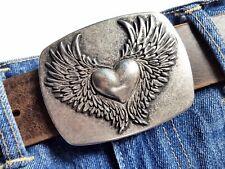Gürtelschnalle Buckle Herz Wechselschnalle Flügel Heart Wings silber 4cm