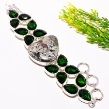 "Eudialyte, Chrome Diopside Gemstone Ethnic Fashion Jewelry Bracelet 7-8"" SB-777"