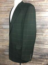 Hickey Freeman Mens 42 Green Checkered Custom Loro Piana 100% Cashmere Blazer