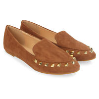 Womens Loafers with Stud Detailed Suede Pumps Ladies Trainers Shoes Size New
