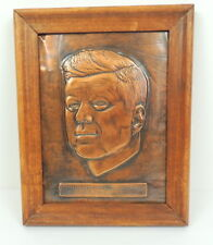"Vintage Stamped Pressed Copper John F Kennedy 9.5 X 7.5"" Artwork Picture"