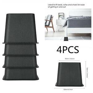 4x Heavy Duty Bed Chair Risers Feet Leg Lift Furniture Extra Raisers Stand