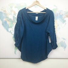Free People Size XS Bohema Off the Shoulder Top Blue Cinched Sleeves NWT $68