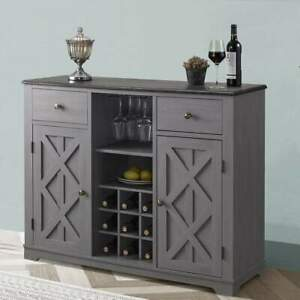 Buffet Sideboard Cabinet Credenza With Built-in Wine Rack Bar in Grey Finish