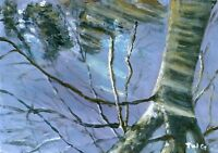 Terry George painting of reflections of a tree in a puddle, Norwich
