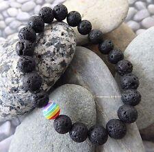 Lava Rock Stone Bead Bracelet Rainbow Bead Gay Pride LGBTQ Mens Unisex Festival