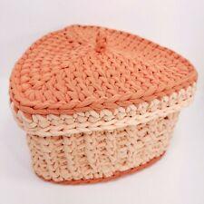 Handmade Crocheted Storage Basket Decor Holder Cotton Yarn Bendable Sides New