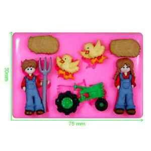 Down on the Farm Tractor Chickens Farmer Silicone Mould by Fairie Blessings