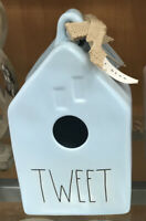 "RAE DUNN Artisan Collection by Magenta LL ""TWEET"" Pastel Blue Square Birdhouse"