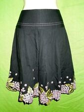 Context skirt size 2 cotton black knee length embroidery floral zip A-line