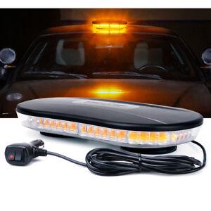 "Xprite 12"" Rooftop Amber LED Strobe Light Bar w/ Magnetic Emergency Warning Lamp"