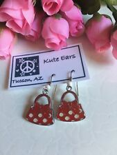 Silvertone Minnie Mouse Purse Traditional Red White Dot Bow Dangle Earrings