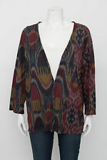 DRIES VAN NOTEN Grey Red Blue Brown Ikat Aztec Marble Print Cardigan Sweater L