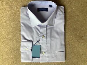 "NEW PETER ENGLAND Plain Lilac Shirt Men Long Sleeve Shirt Large Size (17""/43cm)"