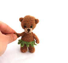 bear with leaf-skirt, crochet tiny bear, teddy bear figurine, small gift