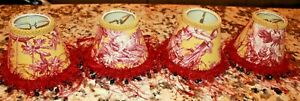 4 Mini Lampshade French Country Toile Red yellow Fringe beaded EUC Clip on