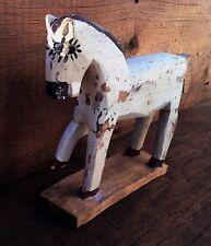 Antique Primitive Horse Folk Art Decor Farmhouse Americana Wood Carved Toy Pony