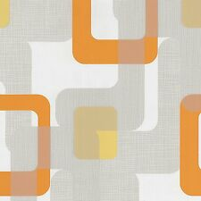 70s NOVARA CREAM ORANGE WHITE RETRO TEXTURED VINYL FEATURE WALLPAPER 13460-50