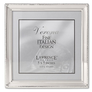 Lawrence Frames Polished Silver Plate 5x5 Picture Frame - Bead Border Design