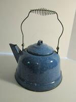 Tea Kettle Blue Speckled Graniteware Vintage Enamelware Coffee Pot Camping