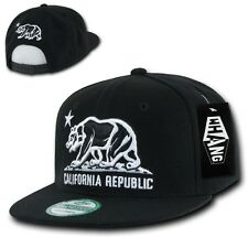 Black California Republic Bear Star Vintage Flat Bill Snapback Snap Back Cap Hat