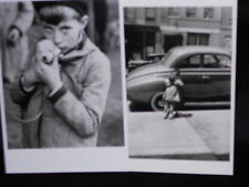2 vintage photo postcards puppy love kids kiss 1928-50
