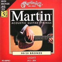 3 sets / Pack  Martin Bronze Acoustic Guitar Strings light 12-54 UK SELLER