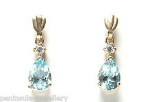 9ct Gold Blue Topaz Teardrop drop dangly earrings Gift Boxed Made in UK