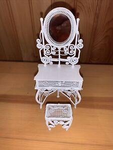 Vintage White Miniature Wicker Metal Dollhouse Furniture Vanity w Stool NIB