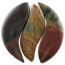 Picasso Jasper Gemstone Crescent Loose Bead Pendant Set Jewelry Crafts Finding