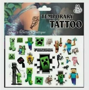 BOYS Temporary Tattoos 🇬🇧 Fun kids Body Art Xbox Blocks DS Games 🎮 Stickers