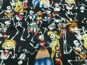 100% cotton Fabric - day of the Dead - skeletons