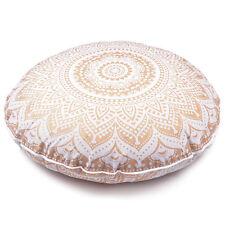 "Large Golden Throw Decorative Floor Pillow Cushion Cover Mandala Boho Case - 32"""