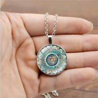 Vintage Mandala Flower Photo Cabochon Glass Bronze Chain Pendant Necklace