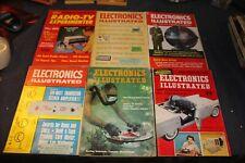 6 Electronics Illustrated Magazines 1950's & 60's vintage antique audio & more