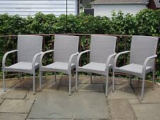 Set of 4 Patio Resin Outdoor Garden Deck Wicker Dining Arm Chairs. Gray