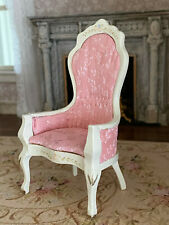 Vintage Miniature Dollhouse 1:12 Painted Wood Pink Silk Tufted Parlor Chair B