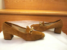 Vtg 1970'S Buccellati Womens Suede Shoes. Lt. Cognac W/ Fab Gold Buckle. Rare!
