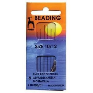Pony Beading Needles Pack of 6 Sizes 10 and 12 Mixed Jewellery Making