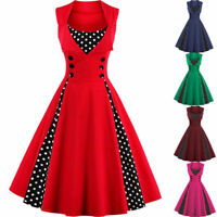 Women Lady Vintage Polka Dot 50's ROCKABILLY Swing Pin Up Housewife Retro Dress