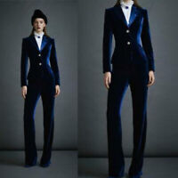 Blue Velvet Women Ladies Business Formal Office Suits Party Tuxedos Work Wear