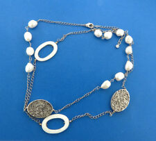 """Fresh Water Pearl Interval Station Necklace Chain Silver Tone 35"""""""
