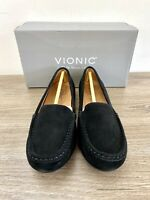 New Vionic Womens Shoe Size 8W Loafer Moccasin Chill Debbie Suede Leather Black