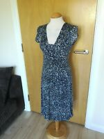 Ladies JIGSAW Dress Size S 8 10 Blue Stretch Smart Day Party Wedding