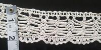 """A31 Antique Crochet Lace Coarse Trim Edging 63"""" Around Trims Vintage Primitive"""