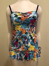 Ocean Avenue Tankini Swim Suit Dress S Yellow Pink Blue Black Floral Ruched