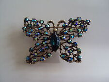 Vintage Butterfly Figural Pin Brooch Blue Rhinestone Weiss Designer Signed