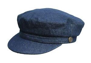 Brand New Men's Denim Breton Sailors Fishermen Boating Barge Hat Cap